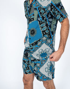 Liquor n Poker Paisely bandana print twinset shirt and shorts