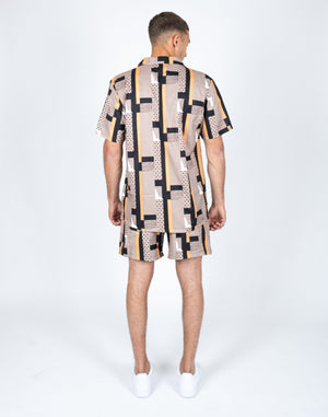 Load image into Gallery viewer, Liquor n Poker Geometric print twinset shirt and shorts