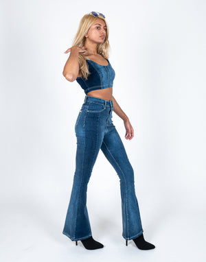 Vice versa high rise denim flares with contrast panel