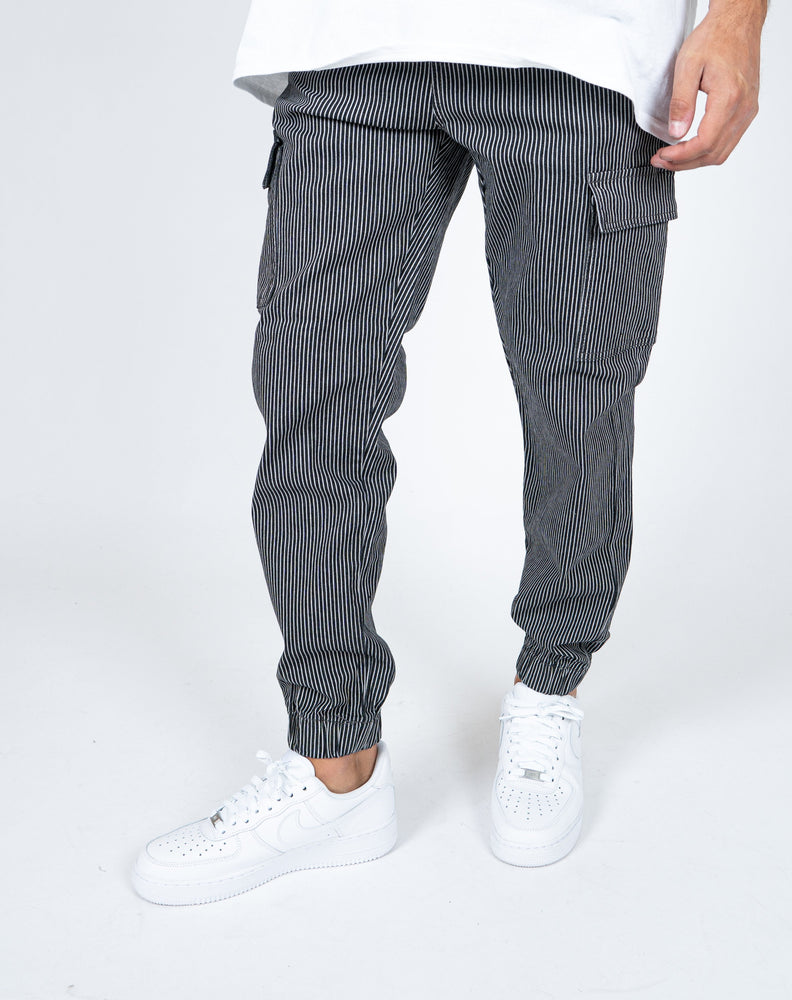 Liquor n Poker - detroit denim cargo trouser in black and white pinstripe