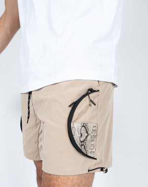 Liquor n Poker - Nylon desert shorts with snake print detail