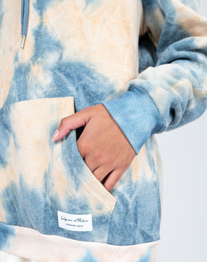 Liquor n Poker - UNISEX baller tie dye hoody in blue and peach
