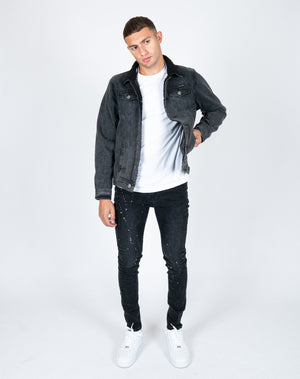 Baller skinny fit jeans with paint splatter in black