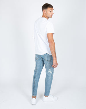 Faro tapered slim fit jeans with raw edge