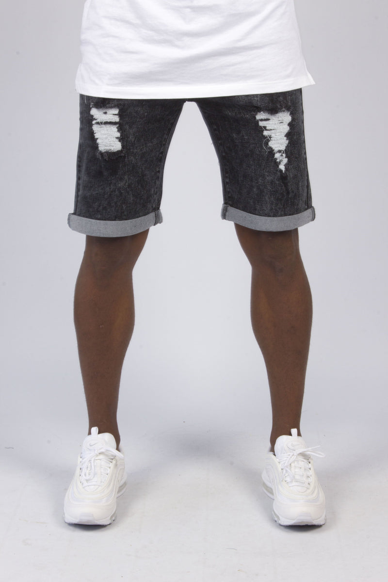 Miami Black Acid Washed Denim Shorts With Distressing - Liquor N Poker  Liquor N Poker