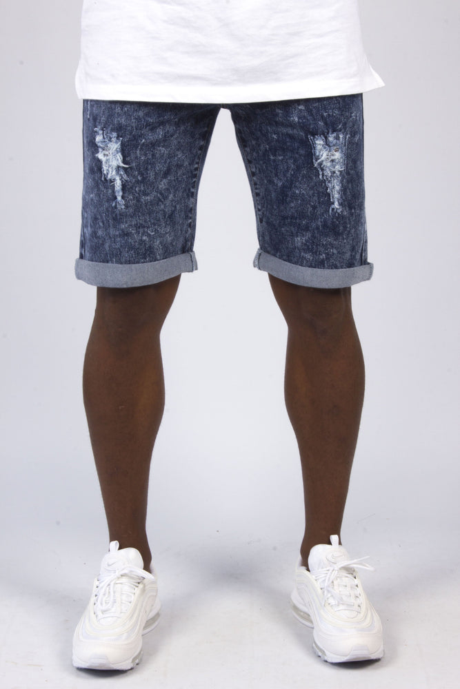 Miami Blue Acid Washed Denim Shorts With Distressing - Liquor N Poker  LIQUOR N POKER