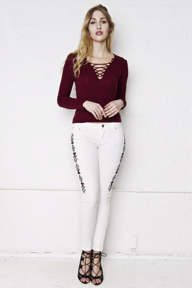 Shawnee Low Rise Skinny Jeans With Festival Aztec Embroidery