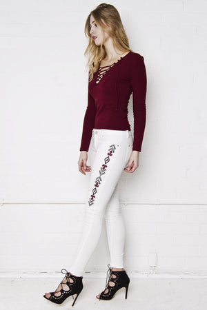 Load image into Gallery viewer, Shawnee Low Rise Skinny Jeans With Festival Aztec Embroidery - Liquor N Poker  LIQUOR N POKER