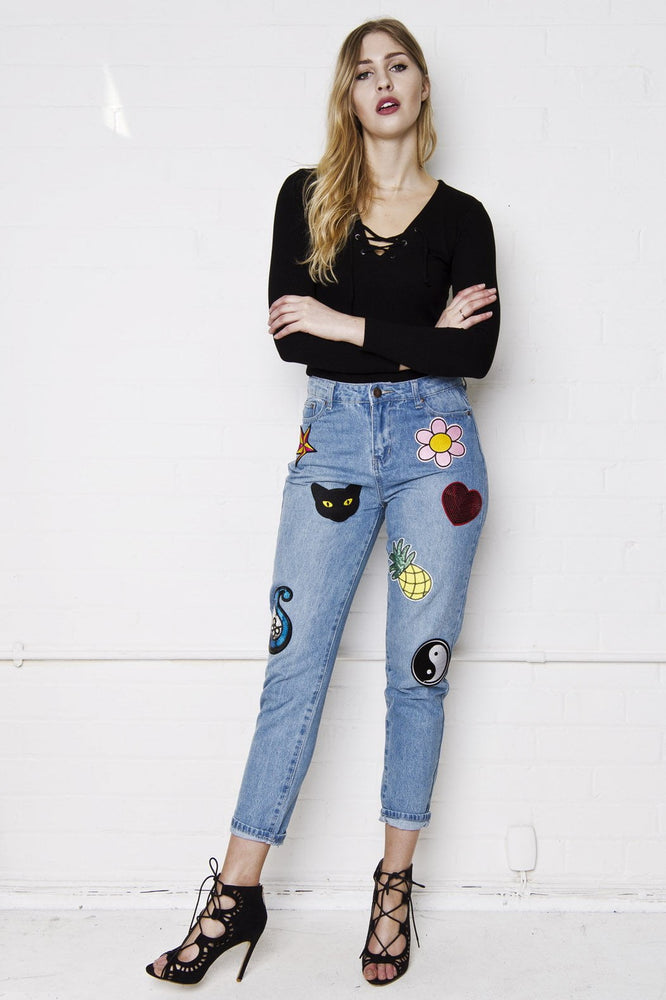 Lax Festival Mom Jean With Embroidered Sequin Badges - Liquor N Poker  Liquor N Poker