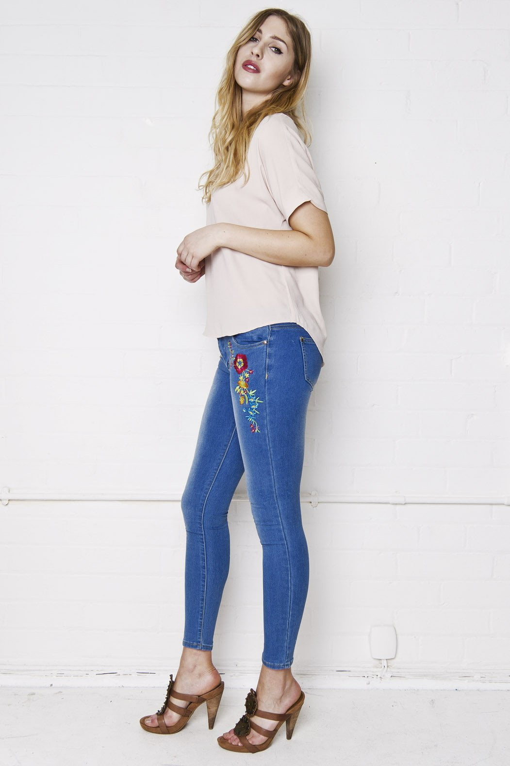 Liquor n Poker - Slayer Low rise Folk embroidered floral skinny jean - Liquor N Poker  Liquor N Poker