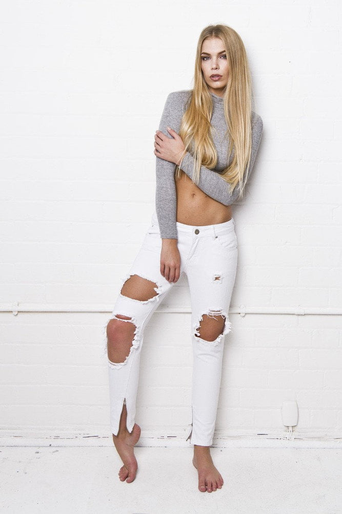 Rebel White Super Slashed Skinnies - Liquor N Poker  LIQUOR N POKER
