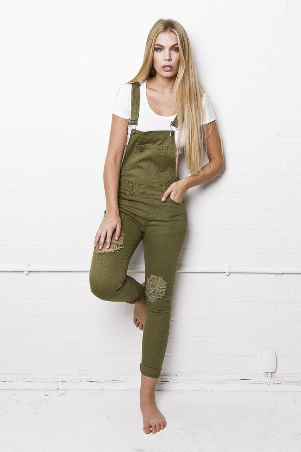 Lizzie Full Length Khaki Fitted Dungaree - Liquor N Poker  Liquor N Poker