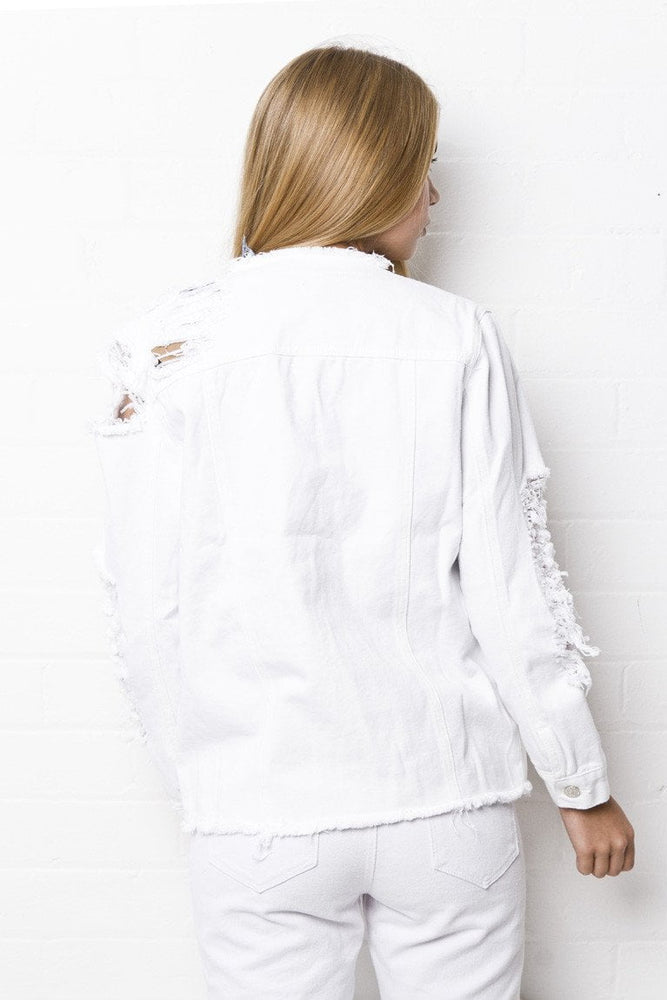 McPherson White Distressed Denim Trucker Jacket - Liquor N Poker  LIQUOR N POKER