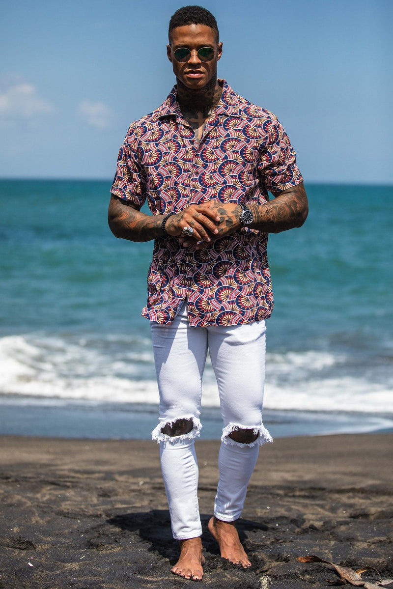 MIAMI RETRO PATTERN REVERE COLLAR SHIRT - Liquor N Poker  Liquor N Poker