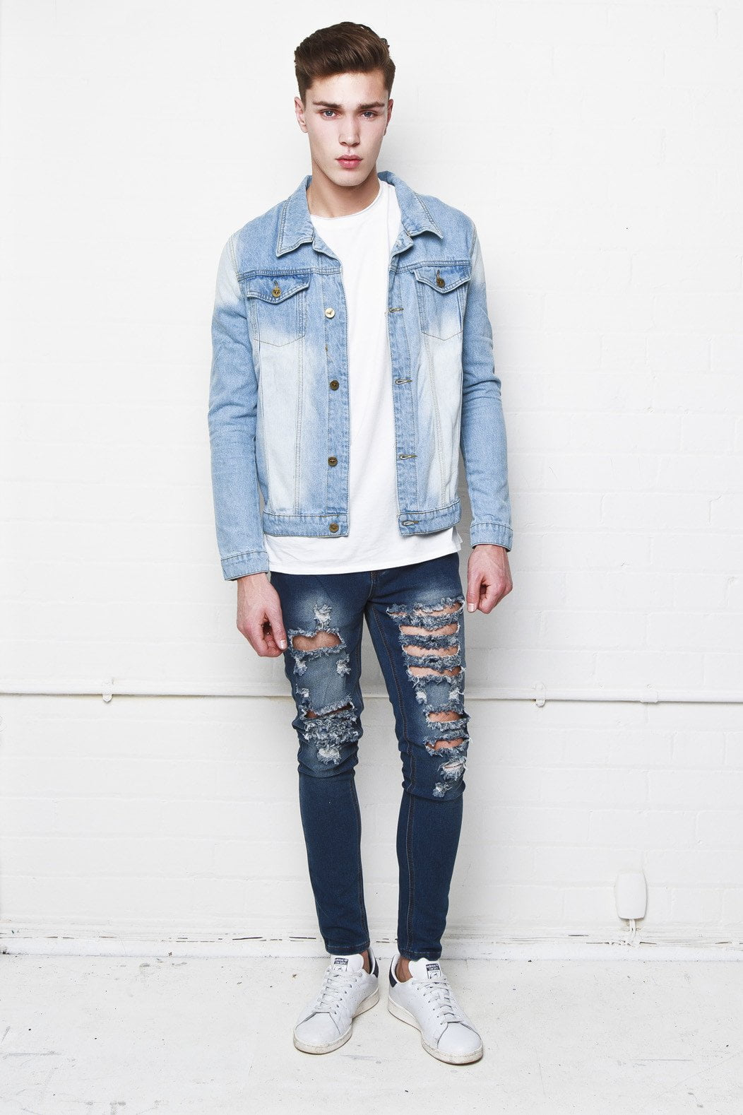 Liquor n Poker - Hendricks ripped and distressed mens super stretch skinny in mid indigo blue - Liquor N Poker  Liquor N Poker