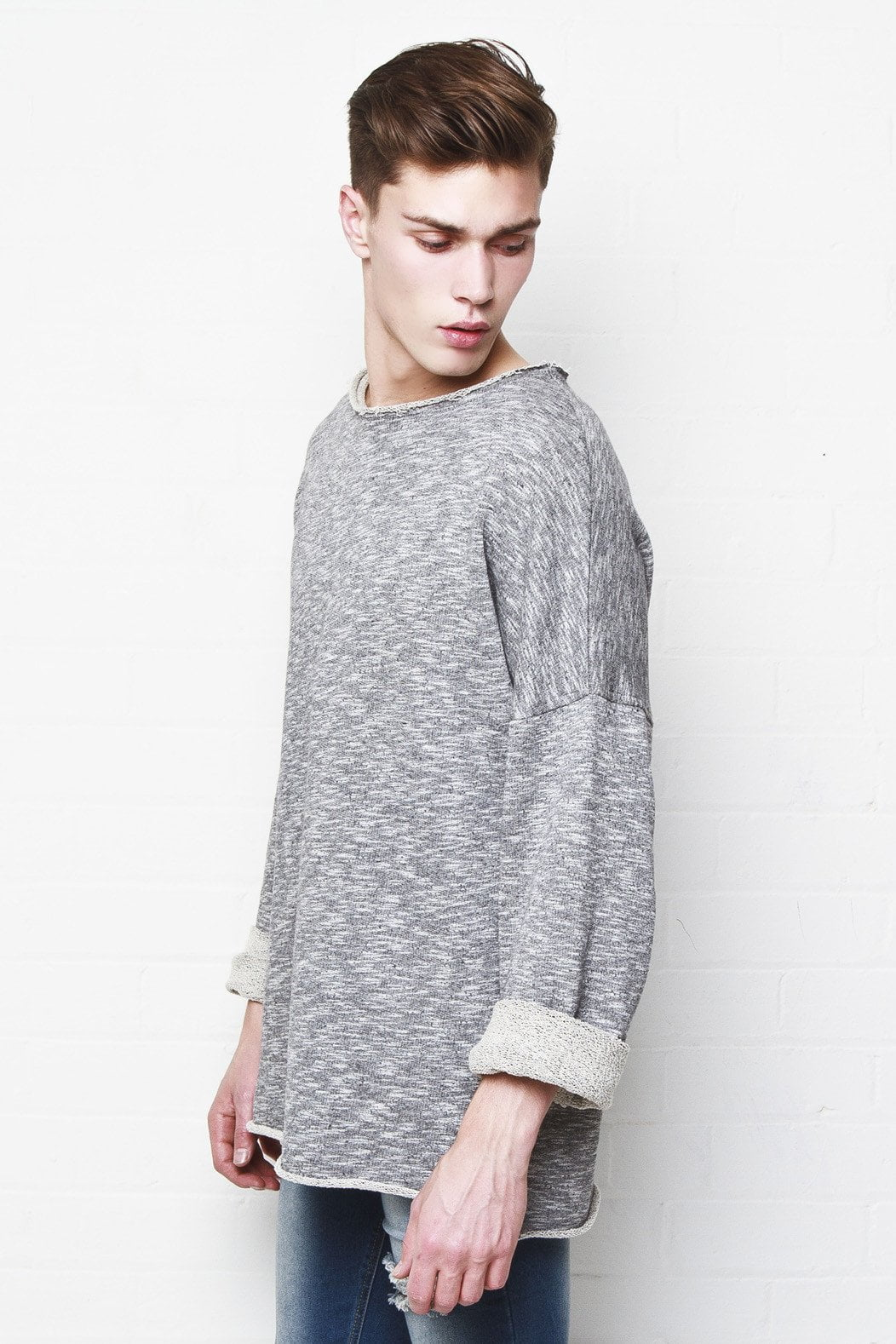 Bakerfield - Raw edge oversized sweat top in Charcoal - Liquor N Poker  Liquor N Poker