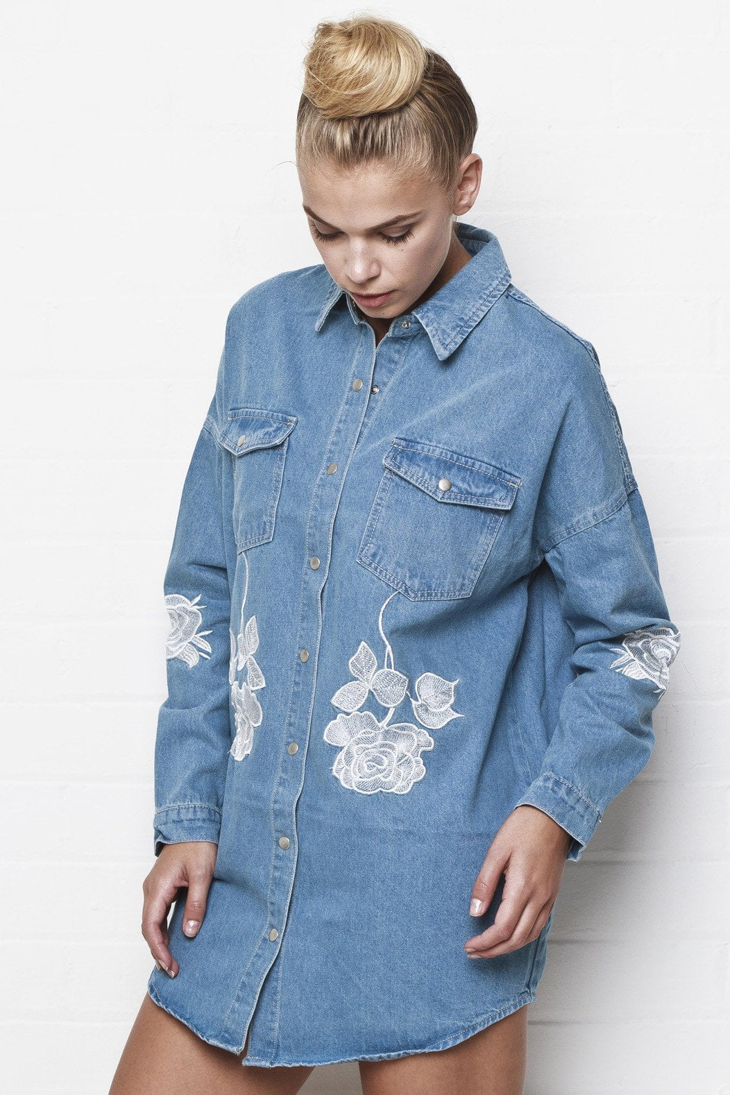 Liquor n Poker - Texas Rose oversized embroidered denim shirt - Liquor N Poker  Liquor N Poker