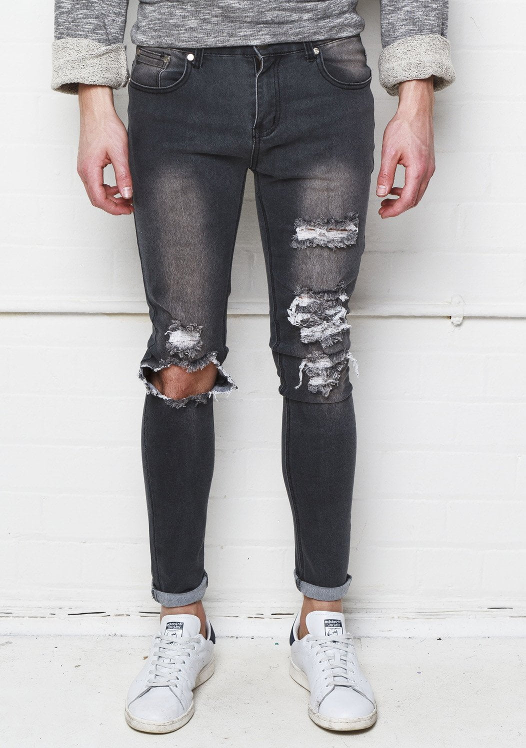 Liquor n Poker - Mens distressed and ripped washed grey skinnies - Liquor N Poker  Liquor N Poker
