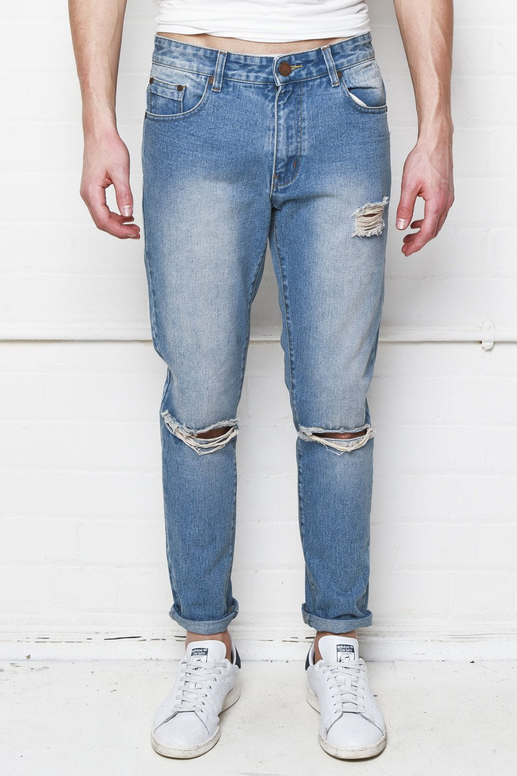 Charleston Stonewashed Straight Leg Jean With Distressing And Ripped Knee - Liquor N Poker  Liquor N Poker