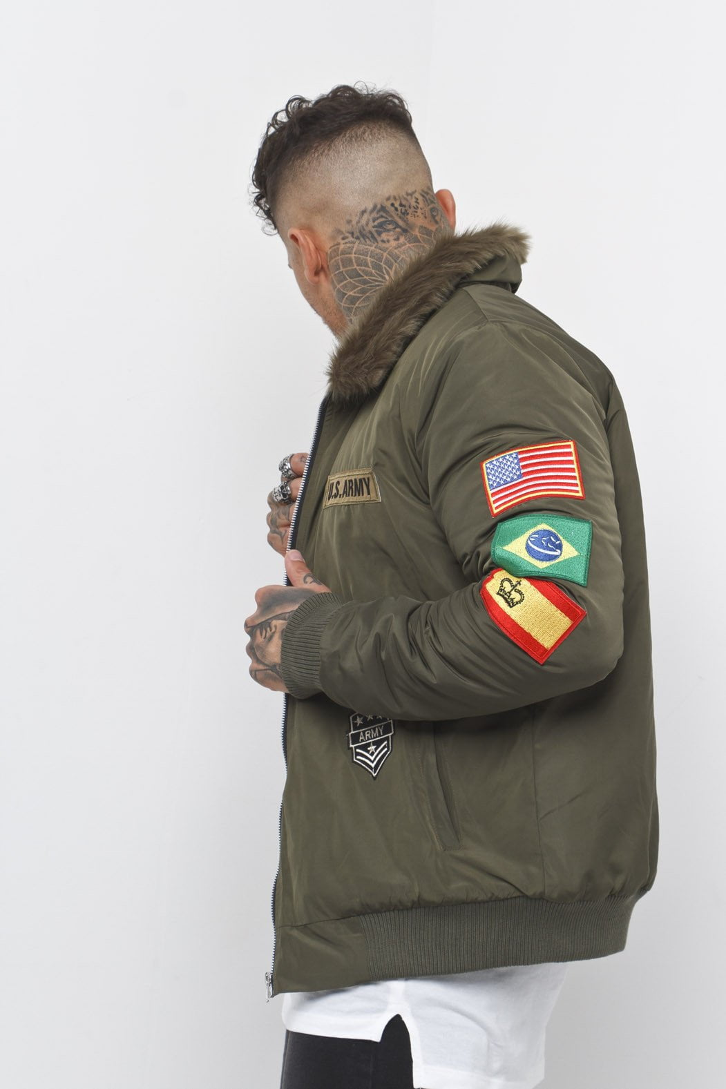 Liquor n Poker - Military Padded bomber jacket with army badges and fur collar - Liquor N Poker  Liquor N Poker
