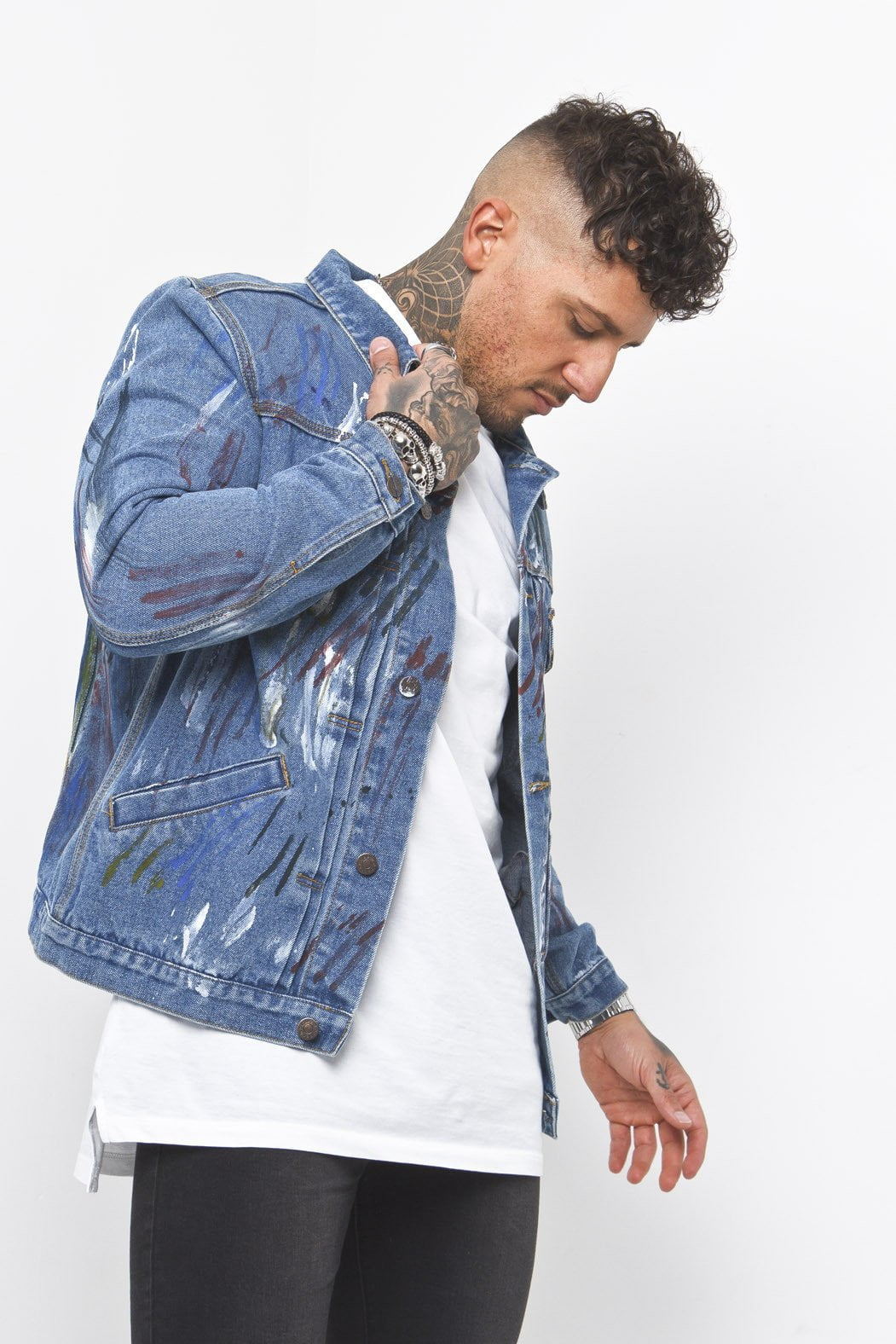 Norton Slim Fit Denim Jacket Paint Splatter - Liquor N Poker  Liquor N Poker