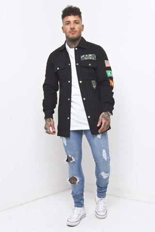 Liquor n Poker - Denim Biker Jacket in Washed Black