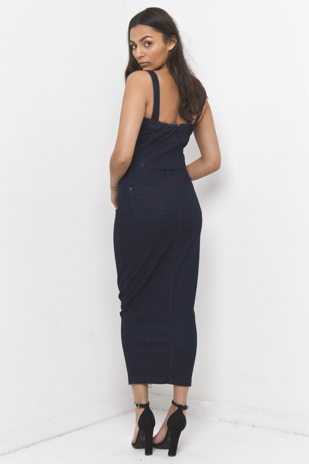 Denim Midi Skirt in stretch denim with O ring zipper - Liquor N Poker  Liquor N Poker