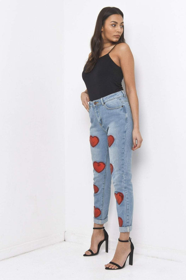 Lax Mom Jean With Embroidered Sequin Love Hearts - Liquor N Poker  Liquor N Poker