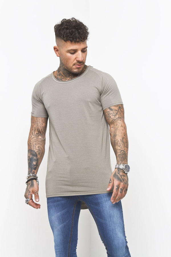 Scoop Neck Muscle Fit T-Shirt In Khaki - Liquor N Poker  Liquor N Poker