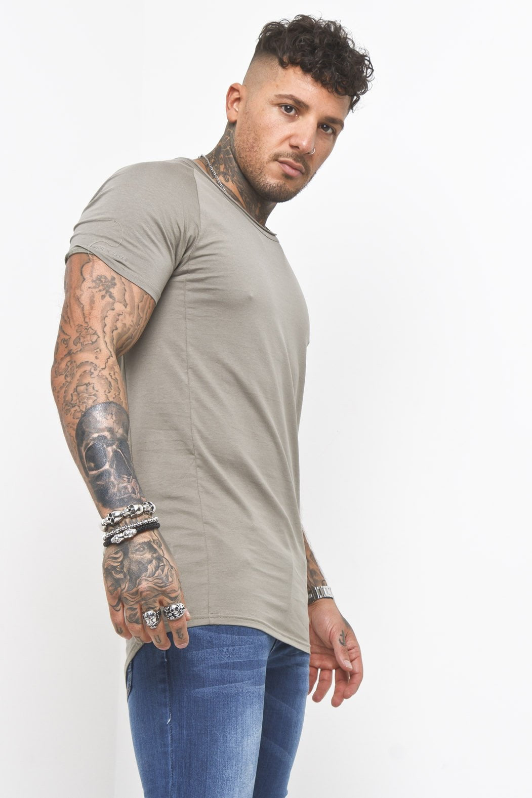 Liquor n Poker - Scoop neck muscle fit t shirt in Khaki - Liquor N Poker  Liquor N Poker