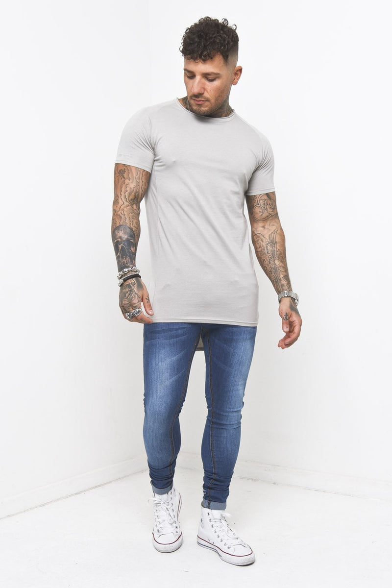 Muscle Fit T-Shirt In Grey - Liquor N Poker  Liquor N Poker
