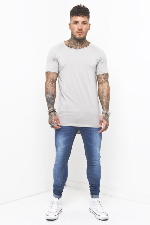 Scoop Neck Muscle Fit T-Shirt In Grey - Liquor N Poker  Liquor N Poker