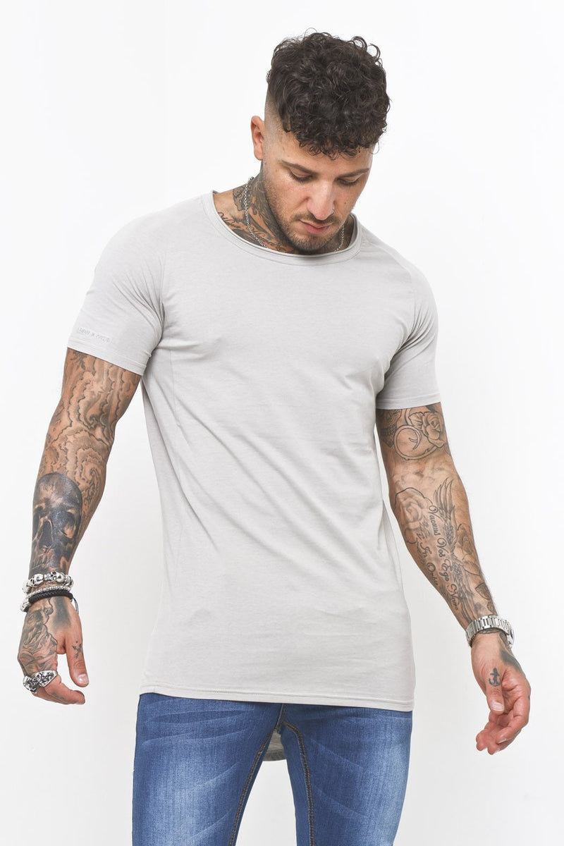 01a04fd4 Scoop Neck Muscle Fit T-Shirt In Grey - Liquor N Poker Liquor N Poker