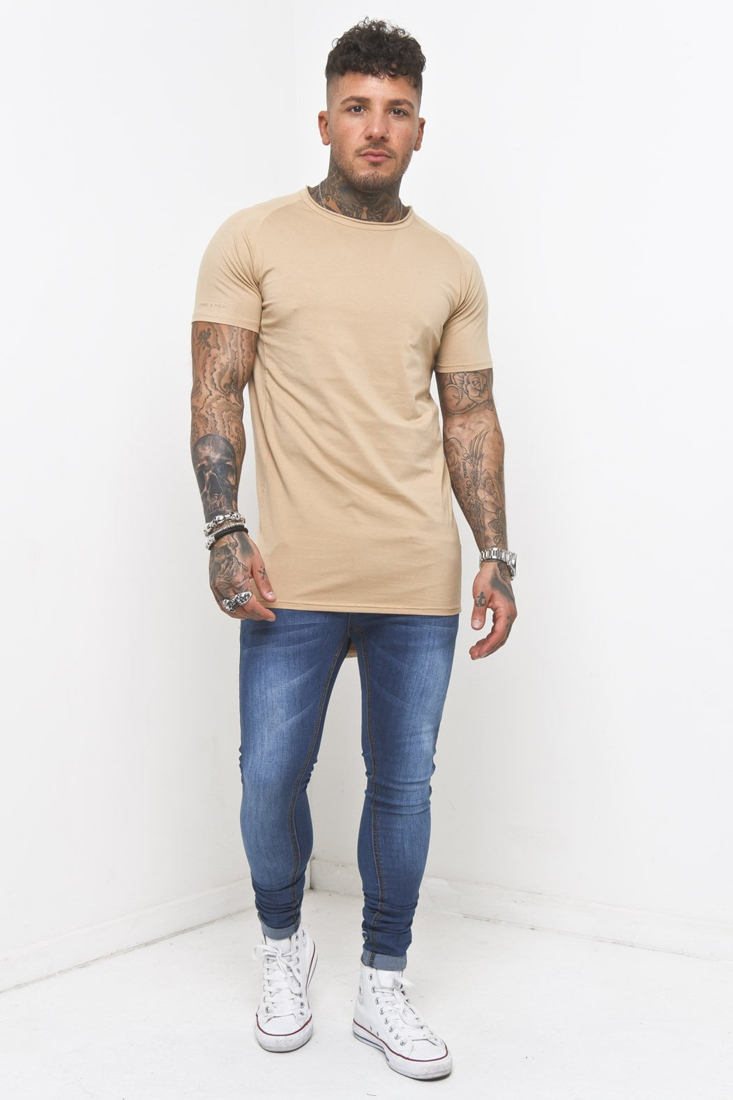 Muscle Fit T-Shirt In Beige - Liquor N Poker  Liquor N Poker