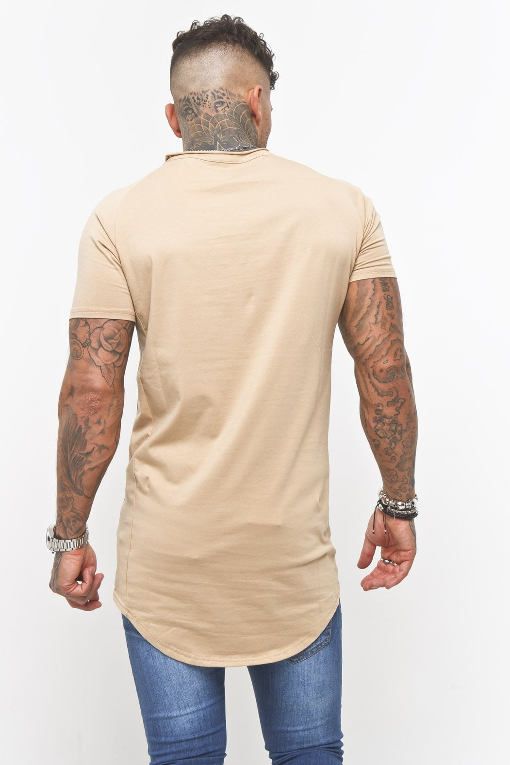 Liquor n Poker - Muscle fit t shirt in Beige - Liquor N Poker  Liquor N Poker