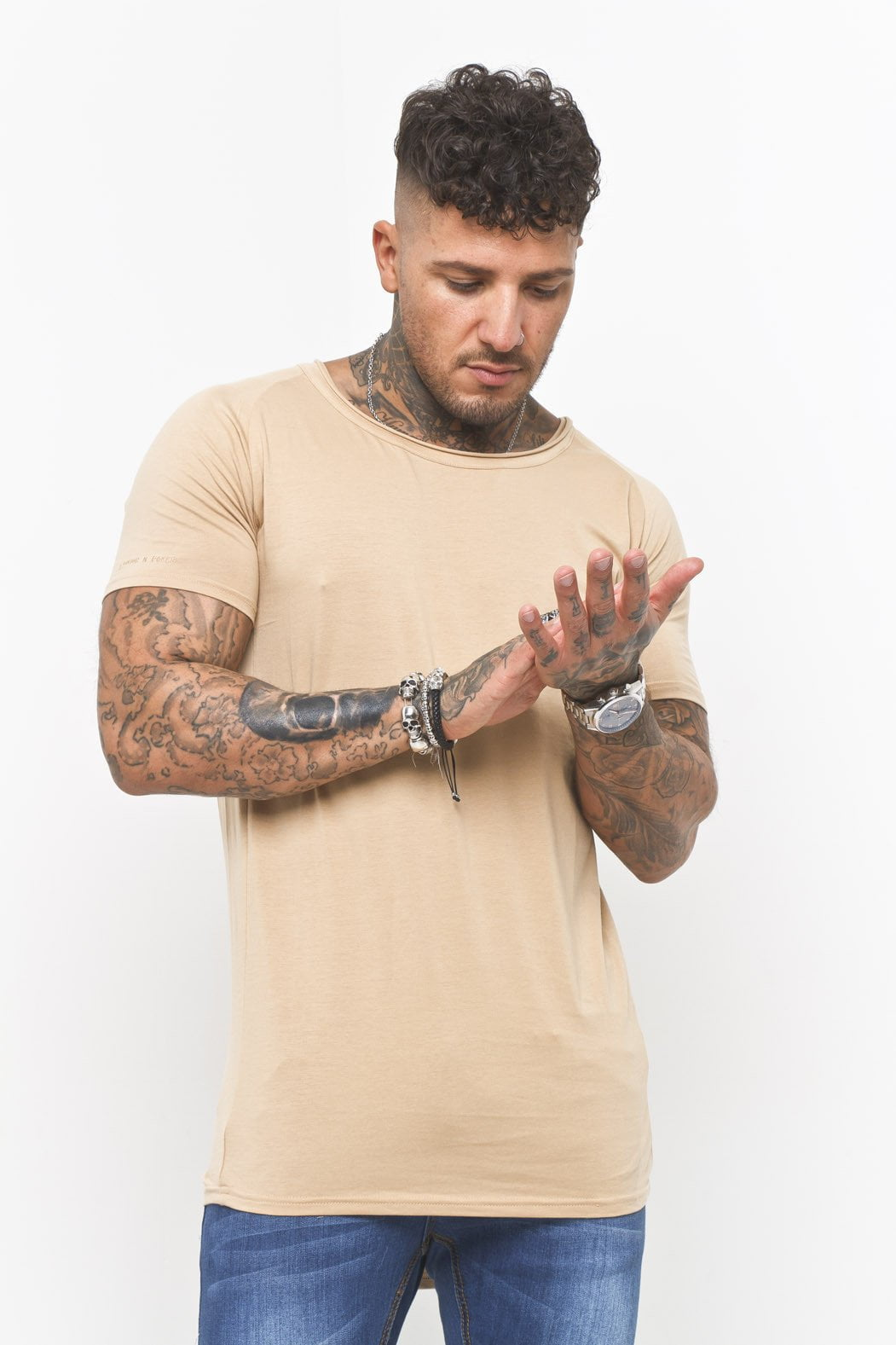 Liquor n Poker - Scoop neck muscle fit t shirt in Beige - Liquor N Poker  Liquor N Poker