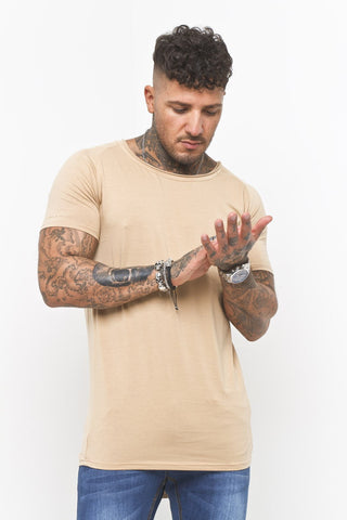 Scoop Neck Muscle Fit T-Shirt In Beige - Liquor N Poker  Liquor N Poker