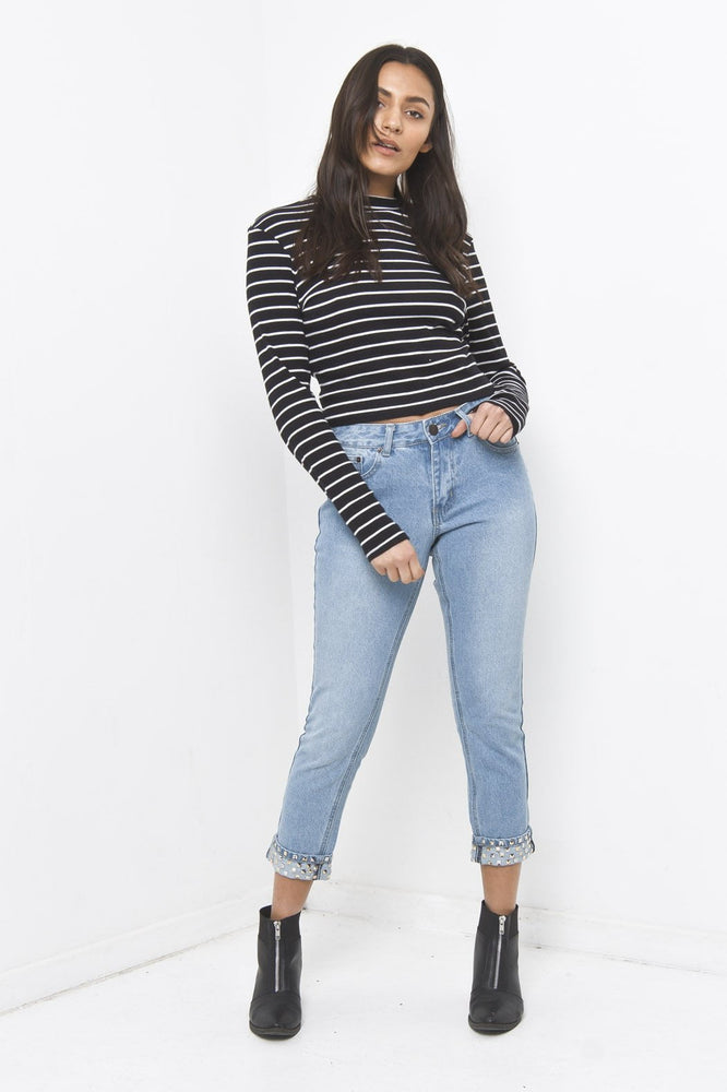 Alexa Girlfriend Fit Jean with Studded Rolled Hem