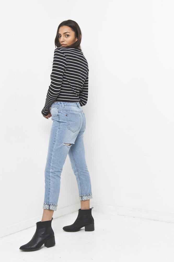 Alexa Girlfriend Fit Jean with Studded Rolled Hem - Liquor N Poker  LIQUOR N POKER