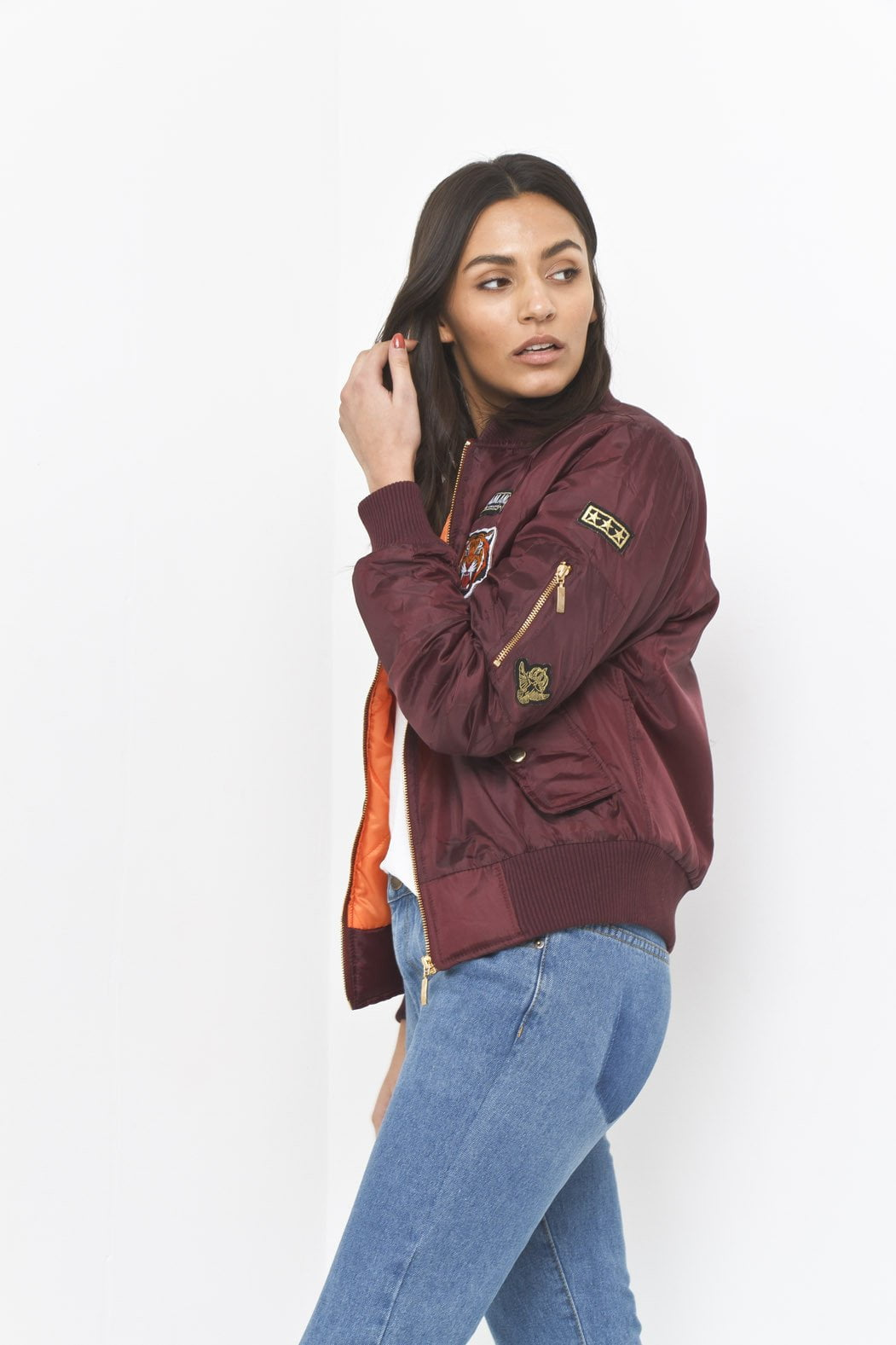 South Beach Padded Bomber Jacket With Badges In Burgundy - Liquor N Poker  Liquor N Poker