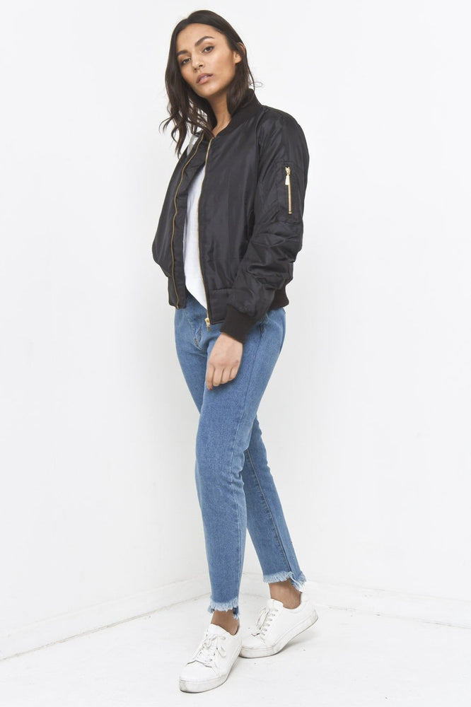 Wyoming Black Padded Bomber Jacket