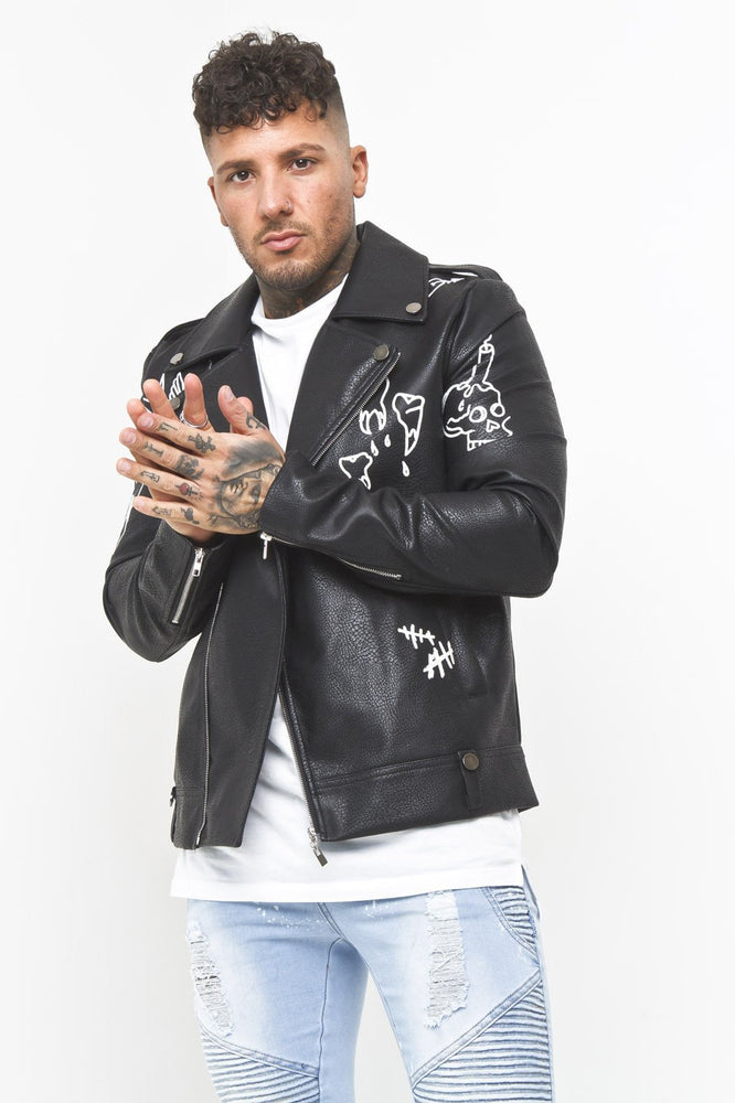 Faux Leather Biker Graffiti Jacket - Liquor N Poker  Liquor N Poker