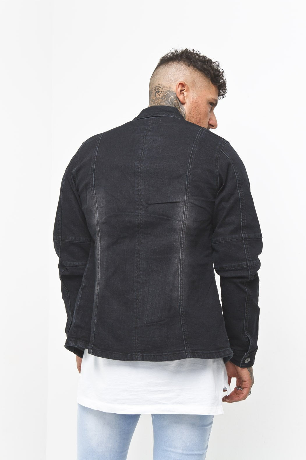 Liquor n Poker - Denim Biker Jacket in Washed Black - Liquor N Poker  Liquor N Poker