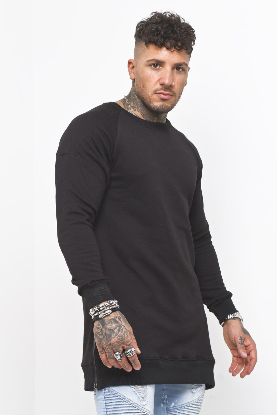 Liquor n Poker - Curved Hem Zip Sweater in Black - Liquor N Poker  Liquor N Poker