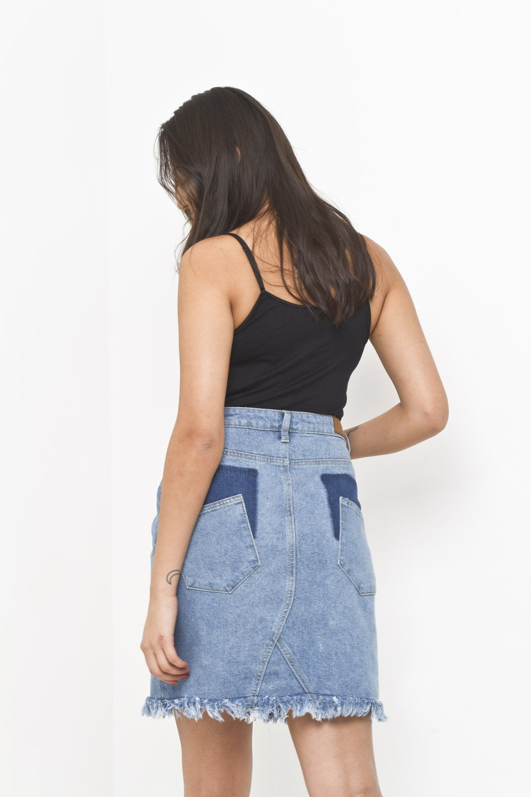 Denim Skirt with Raw Hem and Shadow Pockets - Liquor N Poker  Liquor N Poker