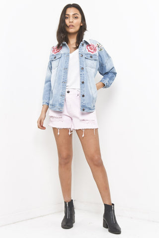 Liquor & Poker - Girlfriend Trophy denim jacket with floral patches - Liquor N Poker  Liquor N Poker