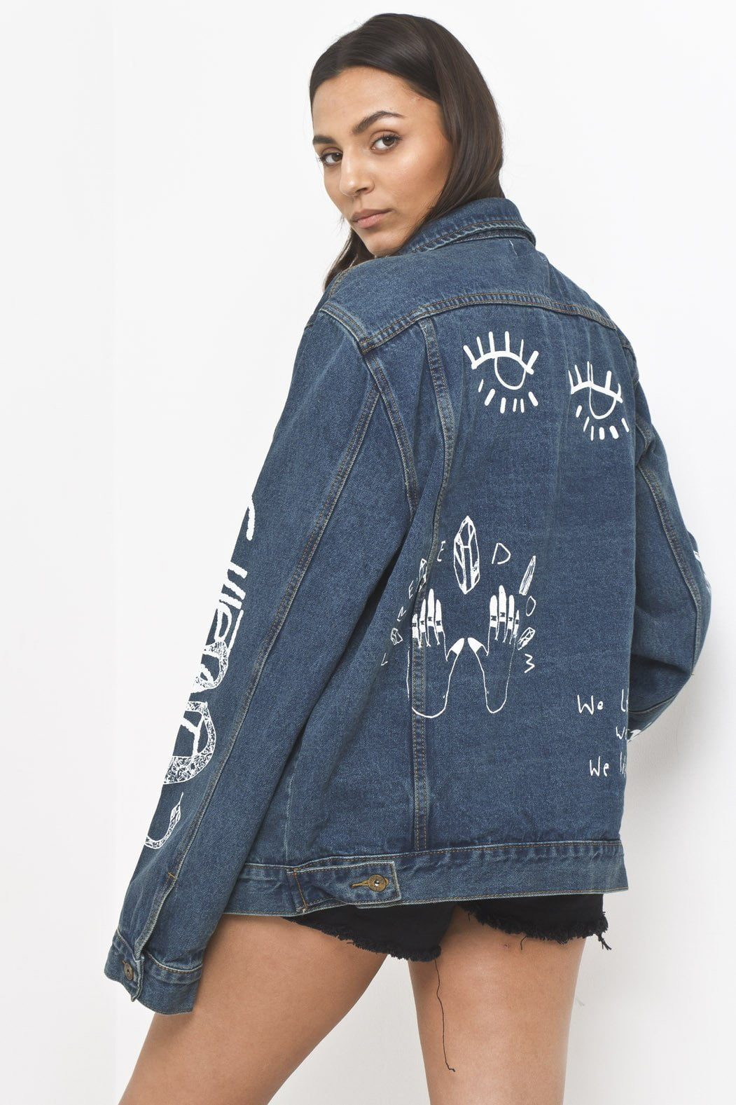 "Liquor n Poker - Boyfriend fit denim jacket with graffiti illustration ""Liars & Cheats"" - Liquor N Poker  Liquor N Poker"