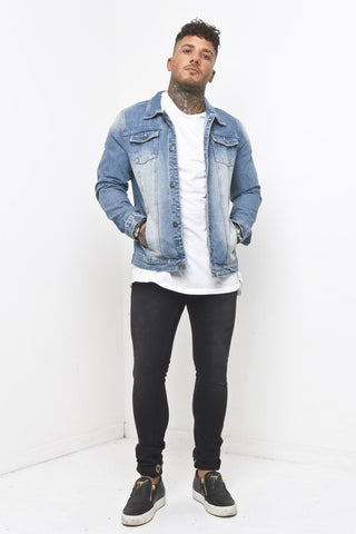 Norton Patchwork Denim Jacket In Light Indigo