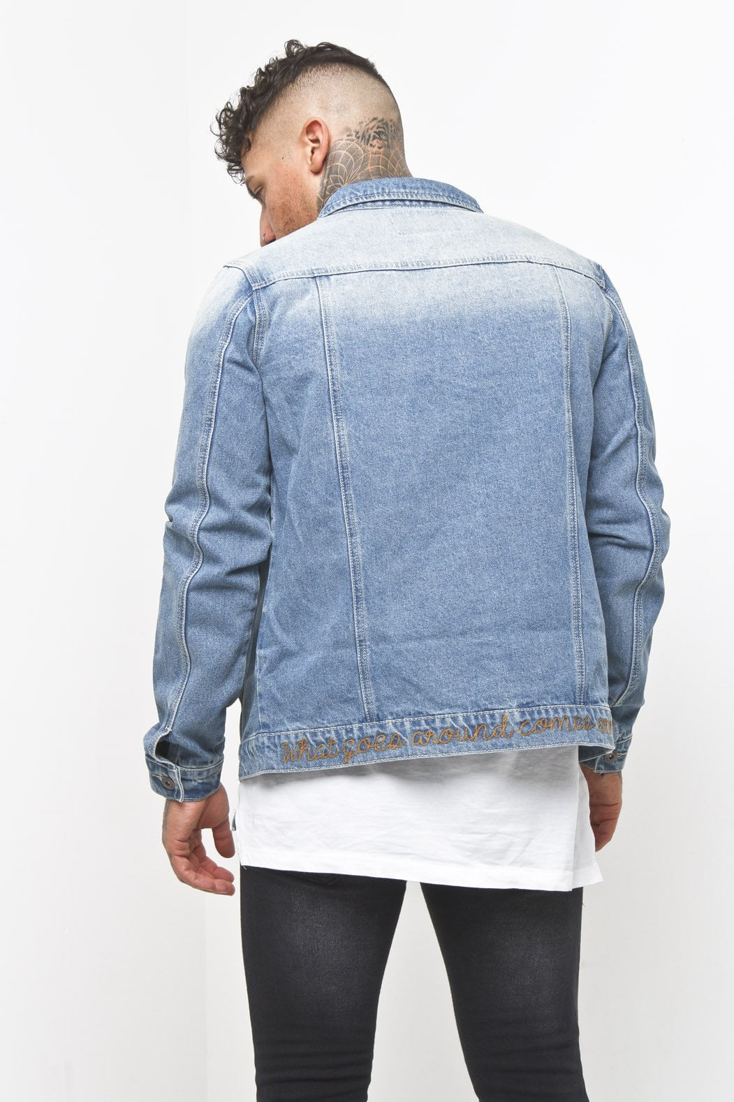 Liquor n Poker - Slogan Denim Stitch Jacket What Goes Around - Liquor N Poker  Liquor N Poker