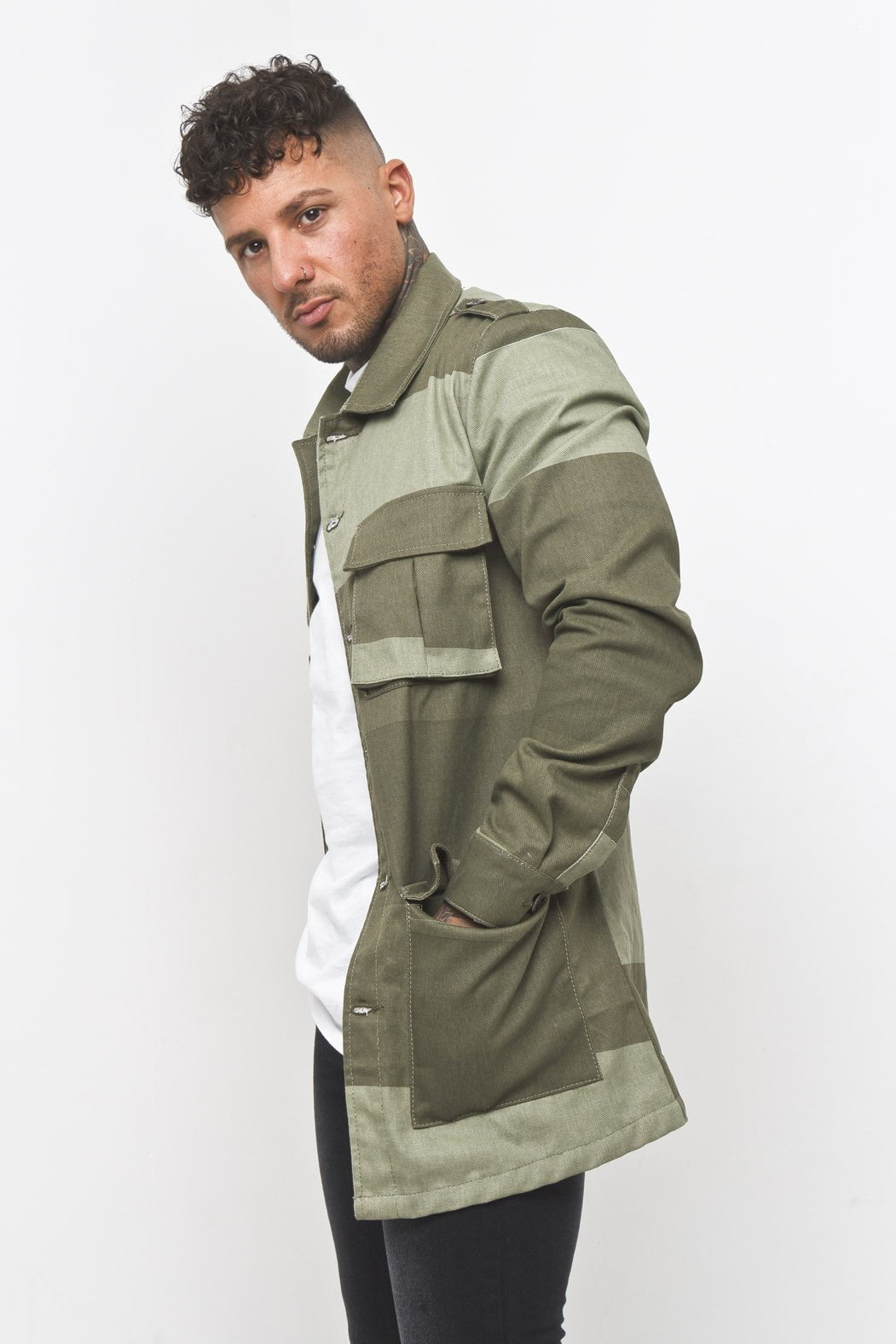 Khaki Stripe Military Jacket - Liquor N Poker  Liquor N Poker
